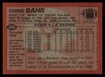 1983 Topps #296  Chris Bahr  Back Thumbnail