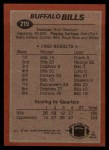 1983 Topps #219   -  Joe Cribbs / Frank Lewis / Bill Simpson / Sherman White / Ben Williams / Bill Simpson Bills Leaders Back Thumbnail