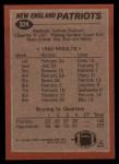 1983 Topps #324   Patriots Leaders Back Thumbnail