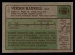 1984 Topps #16  Vernon Maxwell  Back Thumbnail