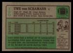1984 Topps #130  Uwe Von Schamann  Back Thumbnail