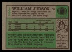 1984 Topps #122  William Judson  Back Thumbnail