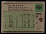 1984 Topps #200  Jeff West  Back Thumbnail