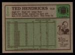 1984 Topps #110  Ted Hendricks  Back Thumbnail