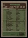 1984 Topps #206   -  Vann McElroy / Ken Riley / Mark Murphy Interception Leaders Back Thumbnail