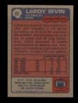 1985 Topps #82  LeRoy Irvin  Back Thumbnail