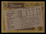 1986 Topps #86  Mike Lansford  Back Thumbnail
