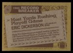 1986 Topps #2  Eric Dickerson  Back Thumbnail