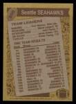 1986 Topps #200   -  Curt Warner / Steve Largent / John Harris / Jacob Green / Fredd Young Seahawks Leaders Back Thumbnail