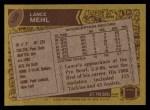 1986 Topps #108  Lance Mehl  Back Thumbnail