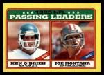 1986 Topps #225   -  Joe Montana / Ken O'Brien Passing Leaders Front Thumbnail