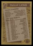 1986 Topps #242   Lions Leaders Back Thumbnail