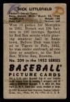 1952 Bowman #209  Dick Littlefield  Back Thumbnail