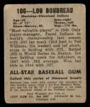 1948 Leaf #106  Lou Boudreau  Back Thumbnail