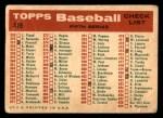 1959 Topps #419   Braves Team Checklist Back Thumbnail