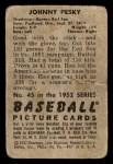 1952 Bowman #45  Johnny Pesky  Back Thumbnail