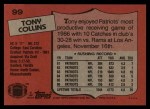 1987 Topps #99  Tony Collins  Back Thumbnail