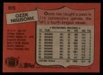 1987 Topps #85  Ozzie Newsome  Back Thumbnail