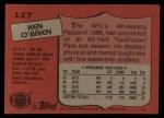 1987 Topps #127  Ken O'Brien  Back Thumbnail
