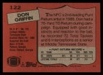 1987 Topps #122  Don Griffin  Back Thumbnail