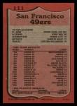 1987 Topps #111   -  Roger Craig / Jerry Rice / Ronnie Lott / Charles Haley / Carlton Williamson 49ers Leaders Back Thumbnail