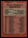 1987 Topps #272   Saints Leaders Back Thumbnail