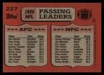 1987 Topps #227   -  Dan Marino / Tommy Kramer Passing Leaders Back Thumbnail
