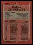 1987 Topps #260   -  Tony Dorsett / Herschel Walker / Michael Downs / Jim Jeffcoat / Eugene Lockhart Cowboys Leaders Back Thumbnail