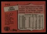 1987 Topps #203  Leo Lewis  Back Thumbnail