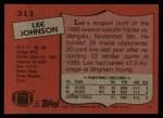 1987 Topps #311  Lee Johnson  Back Thumbnail