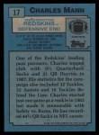 1988 Topps #17  Charles Mann  Back Thumbnail