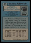 1988 Topps #25  Vance Johnson  Back Thumbnail