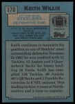 1988 Topps #170  Keith Willis  Back Thumbnail