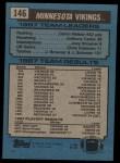 1988 Topps #146   -  Darrin Nelson / Anthony Carter / Joey Browner / Chris Doleman / Jesse Solomon Vikings Leaders Back Thumbnail