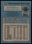 1988 Topps #136  Raymond Butler  Back Thumbnail