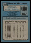 1988 Topps #348  Reggie Williams  Back Thumbnail