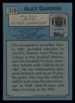 1988 Topps #310  Alex Gordon  Back Thumbnail