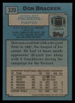 1988 Topps #320  Don Bracken  Back Thumbnail