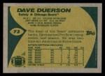 1989 Topps #73  Dave Duerson  Back Thumbnail