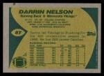 1989 Topps #87  Darrin Nelson  Back Thumbnail