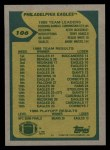 1989 Topps #106   -  Randall Cunningham / Keith Jackson / Terry Hoage / Reggie White / Andre Waters Eagles Leaders Back Thumbnail