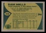 1989 Topps #155  Sam Mills  Back Thumbnail