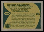 1989 Topps #109  Clyde Simmons  Back Thumbnail