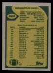 1989 Topps #205   -  Chris Chandler / Eric Dickerson / Bill Brooks / Willie Tullis / Jon Hand / Duane Bickett Colts Leaders Back Thumbnail