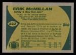 1989 Topps #223  Erik McMillan  Back Thumbnail