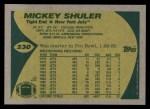 1989 Topps #230  Mickey Shuler  Back Thumbnail
