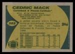 1989 Topps #285  Cedric Mack  Back Thumbnail