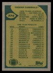 1989 Topps #276   -  Neil Lomax / Earl Ferrell / J.T. Smith / Carl Carter / Cedric Mack / Freddie Joe Nunn / Tim McDonald Cardinals Leaders Back Thumbnail
