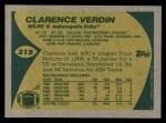 1989 Topps #215  Clarence Verdin  Back Thumbnail