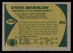 1989 Topps #270  Steve Beuerlein  Back Thumbnail